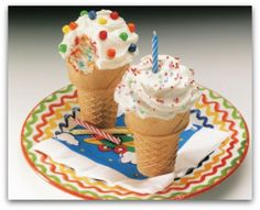 A cupcake in a cone!!  These would be fun to make instead of birthday cake!