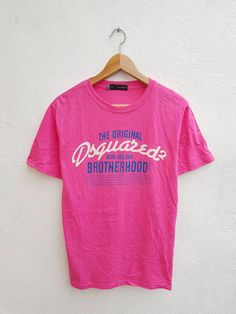 0d59cf60 DSQUARED 2 Dean And Dan Brotherhood Chest Spell Out Pink Color Streetwear T- Shirt Size L