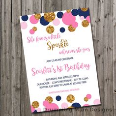 She Leaves a Little Sparkle Wherever she goes Birthday Party Invitation | Pink Navy Blue Gold Glitter Dots | Sparkle First Birthday Girl Invitation | Sparkle and Shine |  This invitation is for your little one who leaves a little sparkle everywhere she goes! Start your child's glitter, sparkle, and shine party off with this colorful yet simple and modern custom invite. Would be great for first birthday or 40th birthday or 90th birthday! Great for any event that is sparkly! This is a…