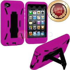 Amazon.com: myLife (TM) Hot Pink + Black Tough Series (Body Armor Defender Glove) Case for iPod 4/4S (4G) 4th Generation iTouch (Built In Ki...