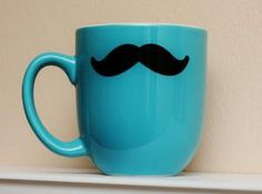 wake up in the morning with some style.  Mustache Mug Teal/Turquoise Coffee Tea Latte by TheBeautifulHome