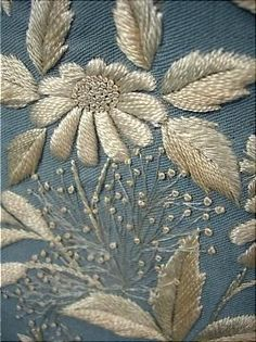 Trained Pale China Blue Wool Twill Morning Gown with Watteau Back and Two-Tone Embroidery. Seeing such great work as this makes me feel like my hand embroidery was done by a 5 year old! Crewel Embroidery, Embroidery Applique, Beaded Embroidery, Cross Stitch Embroidery, Embroidery Patterns, Machine Embroidery, Floral Embroidery, Broderie Simple, Art Textile