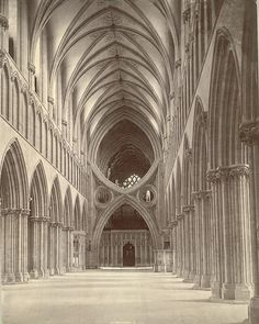 Scissor Arches, Wells Cathedral, UK....photo taken c.1875