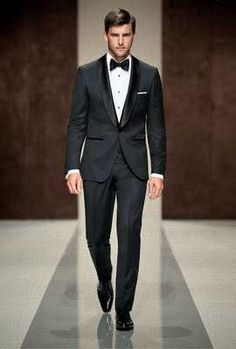 Black Tux with a Shawl Collar from Hugo Boss Not a fan of the bow tie