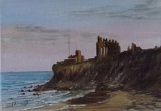 2012 contemporary art by Sharon Douglas  Sunset at Tynemouth Priory.  Painted in acrylics by Sharon Douglas