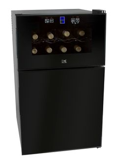 Description The Kalorik Black 2-in-1 Mini-fridge with 8 Bottle Wine Cooler stores wine at optimal temperature and keeps cold beverages or food refrigerated read