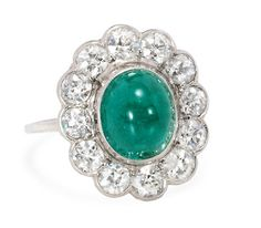 The Illusive Emerald - Cluster Ring Exceptional - The Three Graces