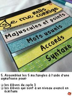 Assembler les fiches d'autocorrection (différenciation) par Profs et Soeurs French Teacher, Teaching French, Writing Strategies, Writing Activities, Expression Écrite, French Grammar, French Classroom, Primary Classroom, French Resources