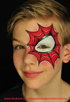 Simple face painting designs are not hard. Many people think that in order to have a great face painting creation, they have to use complex designs, rather then simple face painting designs. This is a common mistake that many people m Superhero Face Painting, Face Painting For Boys, Body Painting, Simple Face Painting, Face Painting Halloween Kids, Cool Face Paint, Painting Tattoo, Boy Face, Child Face