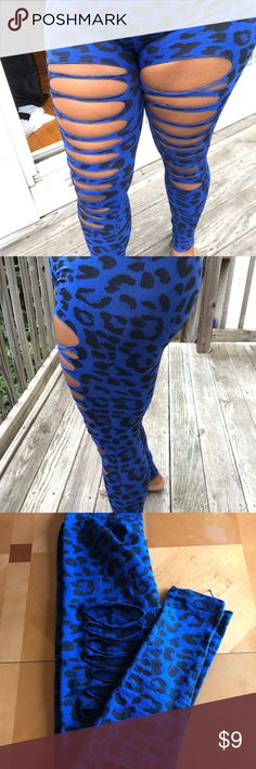Leopard leggings Sexy royal blue leopard high Waist leggings. One size but fit more like a med/large. Pants Leggings