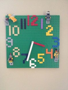 I wanted to make a Lego wall clock for my son's birthday.I did some quick looking on line thinking I could find one premade, but I couldn't - just Lego themed normal clocks.I wanted a clock made out of Legos - here's how I made it. Lego Projects, Projects For Kids, Diy For Kids, Legos, Mur Diy, Handmade Wall Clocks, Lego Bedroom, Bedroom Kids, Bedroom Furniture