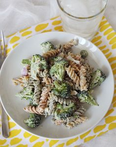 vegetarian broccoli pasta salad - a healthier take on an old favorite (I'm thinking about adding golden raisins and sunflower seeds to this).