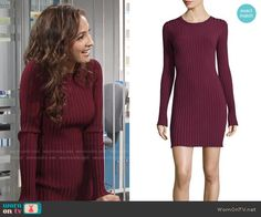 Lily's burgundy ribbed dress on The Young and the Restless.  Outfit Details: https://wornontv.net/67863/ #TheYoungandtheRestless