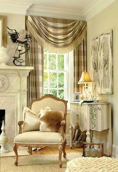 by Joy Tribout Interior Design #design #interior #interior_design, classic treatment, great subtle fabric!