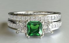 10K White Gold Diamond & Gemstone Engagement Ring Princess Wedding Bridal Set #aonebianco