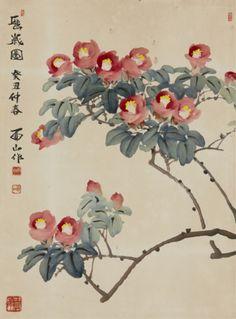 sumi-no-neko:    유산 민경갑   Min KyungKap (1933~)동백나무 -  Camellia