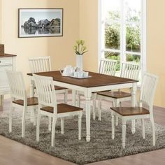Monarch Antique White 7 Piece 60 in. Rectangle Dining Set with Slat Back Chairs - Dining Table Sets at Hayneedle