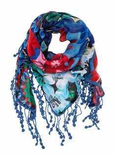 61W54A6_5001 Desigual Scarf Culture Club Triangle, Blue Scarf