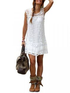 Women Lace Crochet Sleeveless Solid Patchwork Bohemian Mini Dress-fashion, - newchic.com Mobile