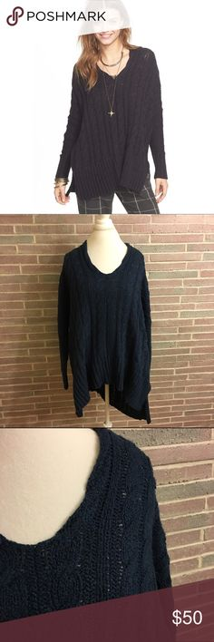 """Free People Easy Cable Knit V-Neck Sweater Free People Easy Cable Knit V-Neck Sweater NWT  •Size small •long Sleeve  •oversized style •navy  •side slits   •V-neck •Cable Knit •Hi-lo hem •Approx. 30"""" shortest length 33"""" longest length •100% cotton    Care: hand wash cold  (I am currently pregnant so I cannot model)  No trades sorry!  Will ship within one day! Free People Sweaters V-Necks"""