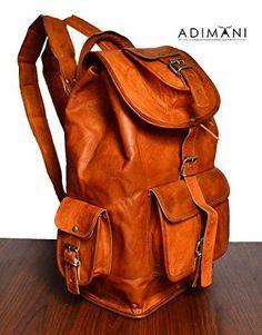 ADIMANI vintage handmade travel distressed satchel leather Backpack/Rucksack bag, bolso de cuero 16 inche