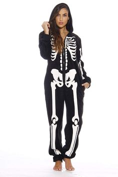 d867d3783752f2 I need to have this spooky skeleton onesie. Cool Halloween costume idea or  goth sleepwear