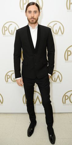 Red Carpet Style: Jared Leto - Jared Leto from #InStyle Leto chose a Dior Homme shawl collar suit and white shirt with inverted collar for the 2014 Producers Guild of America Awards.