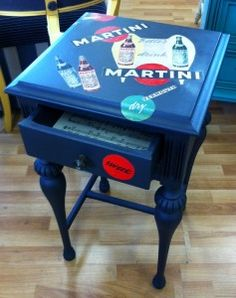 Decoupaged Martini end table with Annie Sloan Chalk Paint™