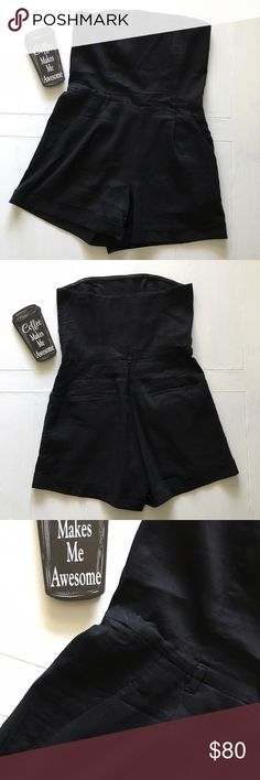 """Theory Strapless Black Romper with Belt Loops This flirty, black strapless romper from Theory features belt loops, two pockets and a side zipper. Size: 8. Chest: 15.75"""". Waist: 15.25"""". Length (measured from front): approx. 25.5"""". Theory Other"""