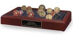 Urns Northwest  - Military Challenge Coin Rack (110 Coin Capacity), $89.00 (http://urnsnw.com/military-challenge-coin-rack-110-coin-capacity/). Elegant display for collectible military Challenge Coins.