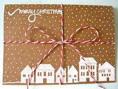 Inspires me to simply tie a ribbon around a card and add a tag with merry Christmas on it