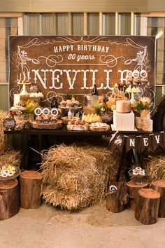 Ideas About Cowboy Party Decorations Country Birthday Party, Cowboy Birthday Party, Farm Party, 80th Birthday, Birthday Table, Birthday Ideas, Rodeo Party, Cowboy Theme Party, Western Party Decorations