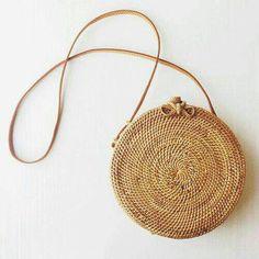 Round rattan basket bag Bohemian round shoulder by EllennJames