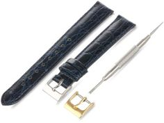Artisan of Italy CITQR100-0814LR Women's Fashion Quick-Release Padded Crocodile 14mm Navy Watch Strap -- See this great product.