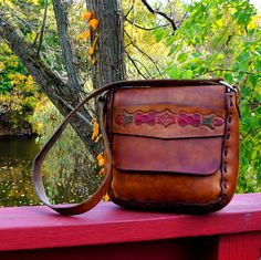 70s Brown Leather Cross Body Hippie Bag Tooled by RenegadeRevival, $88.99