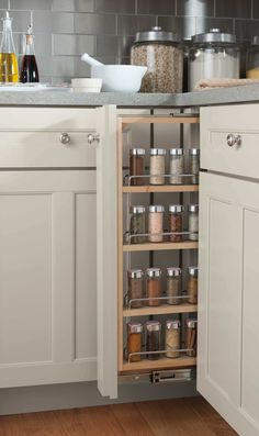 Add a dash of organization to your kitchen with this creative pull-out spice rack! Visit your nearest @homedepot to start planning your dream kitchen.