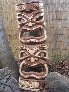 Tiki Decoration Ideas New Wood Carved Tiki Mask totem Hawaiian Decor, Hawaiian Tiki, Tiki Statues, Garden Statues, Middle School Decor, Tiki Totem, Tiki Tiki, Palm Frond Art, Palm Fronds
