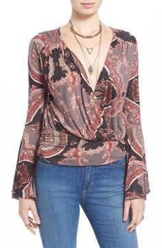 Free People 'Fiona's' Bell Sleeve Surplice Top available at #Nordstrom