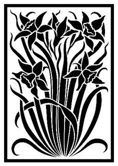 Daffodil flower ornament in art nouveau style