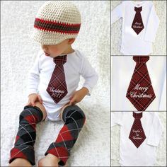 photos of Christmas outfit for little boys   | Merry Christmas, Christmas 2012, or Personalized Christmas Tie Onesie ...