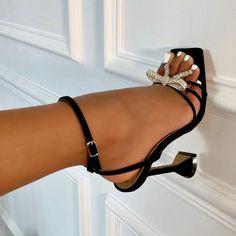 Black Strappy Square Toe Sculptured Heel