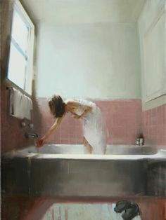 "Kim Kogan. ""Testing the Water"" 40""x30"""