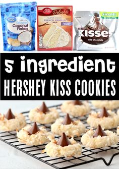 Hershey Kiss Cookies Recipe! Easy Coconut Cake Mix Cookie! This festive treat is perfect for holidays all year long, and the delicious flavor tops the charts! Plus, with just 5 ingredients, they're one of the EASIEST desserts you'll ever make! Go grab the recipe and give them a try!