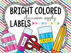 These colorful supply labels will certainly brightened up your classroom! I recommend laminating them for endless uses year after year. - I hope these labels can be useful to you! Enjoy!