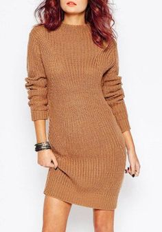 d4d856e62de Chic Women s Long Sleeve Jewel Neck Pure Color Sweater Dress Cute Sweater  Dresses