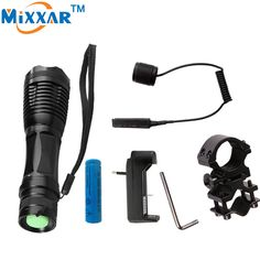 zk50 4000Lm Zoomable Torch For Hunting CREE XM-L T6 Led Tactical Flashlight+ 1*18650 battery + Remote Switch+Charger+Gun Mount