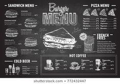 Images, photos et images vectorielles de stock similaires de Restaurant Food Menu Design Chalkboard Background - 196454786 similaires | Shutterstock Sandwich Menu, Pizza Menu, Restaurant Menu Design, Burger Restaurant, Hot Coffee, Images, Sandwiches, Random, Photos