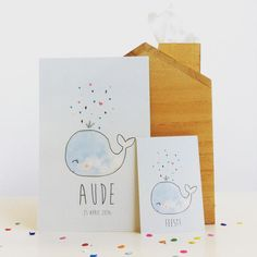 welcome Aude! #geboortekaartje #bodesigns #illustration #birthannouncement #babygirl #walvis #whale #ontwerp #birthcard www.bodesigns.be