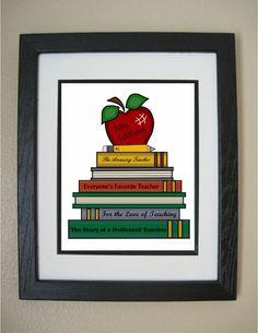 Custom Teacher Print, Teacher Gift, Teacher Books Print