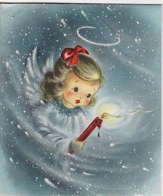 Hallmark Pretty Girl Heaven Blue Angel Candle Lady VTG Christmas Greeting Card